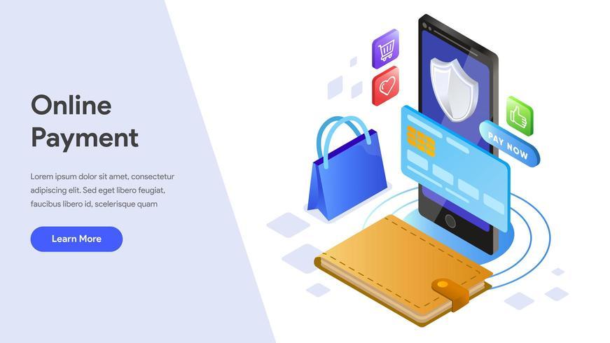 Página de inicio de pago en línea con teléfono móvil vector