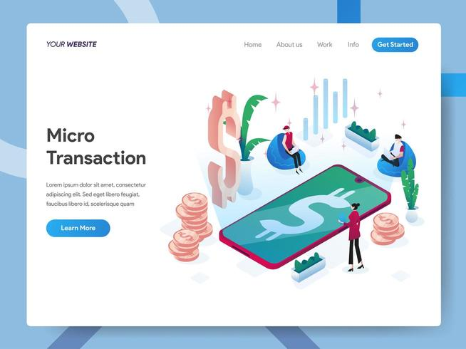 Landing page template of Microtransactions  vector