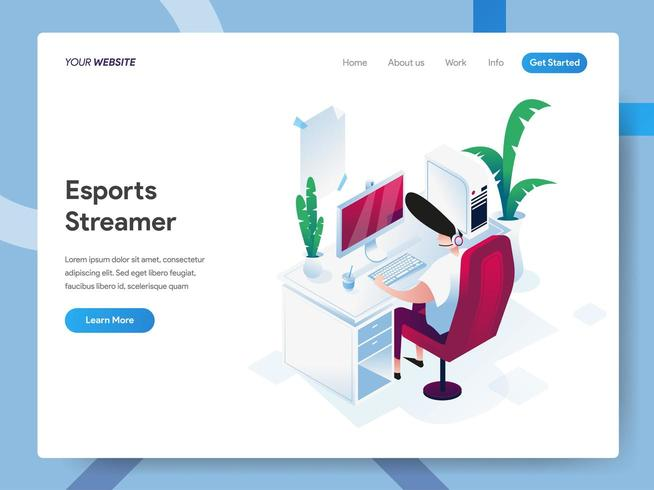 Landing page template of Esports Streamer