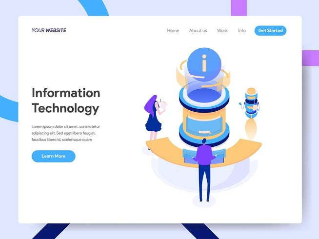 Landing page template of Information Technology  vector