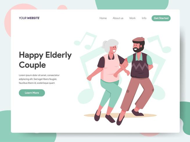 Modèle de page de destination du couple de personnes âgées heureux dansant vecteur