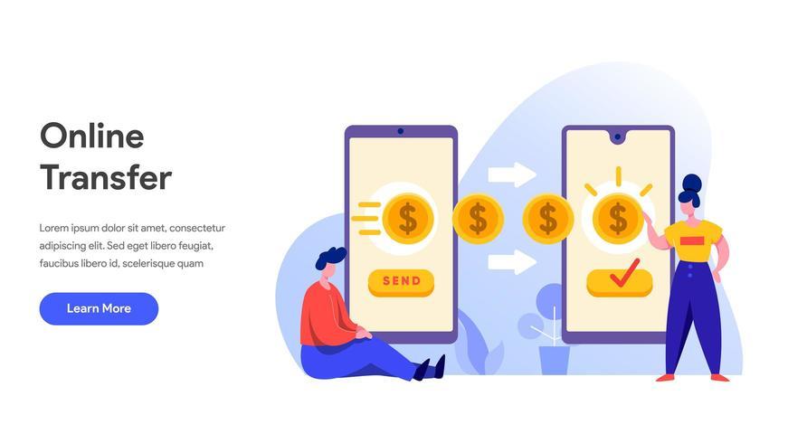 Plantilla de página de destino de transferencia de dinero en línea vector