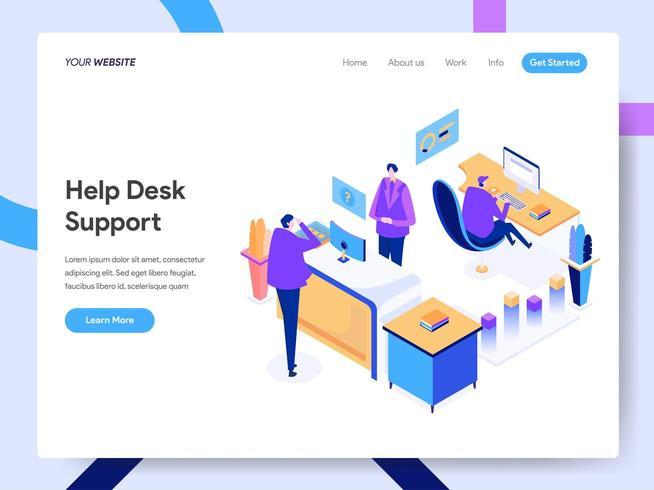 Modello di pagina di destinazione del supporto Help Desk vettore