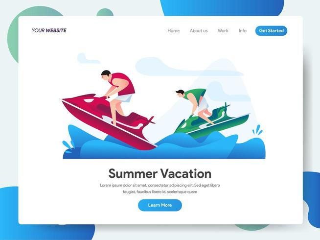 Plantilla de página de aterrizaje de vacaciones de verano con jet ski vector