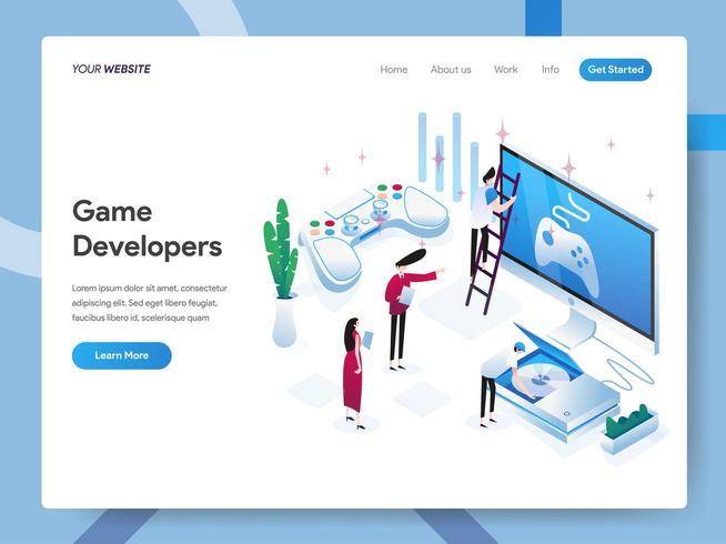 Modelo de página de destino dos desenvolvedores de jogos