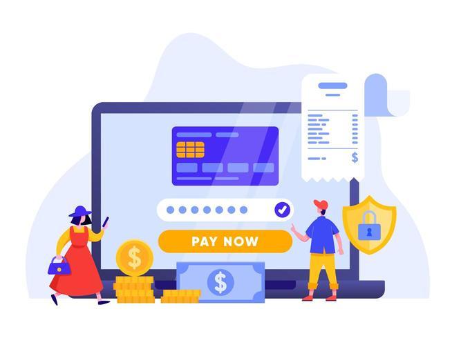 Pagamento mobile o trasferimento di denaro con il concetto di laptop