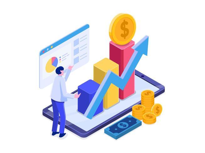 Online investering met mobiele telefoonconcept. vector