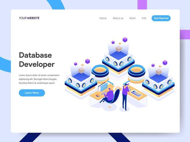 Plantilla de página de destino del desarrollador de bases de datos vector