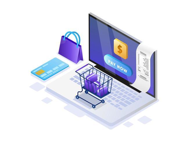 Mobiles Bezahlen oder Geldtransfer mit Laptop
