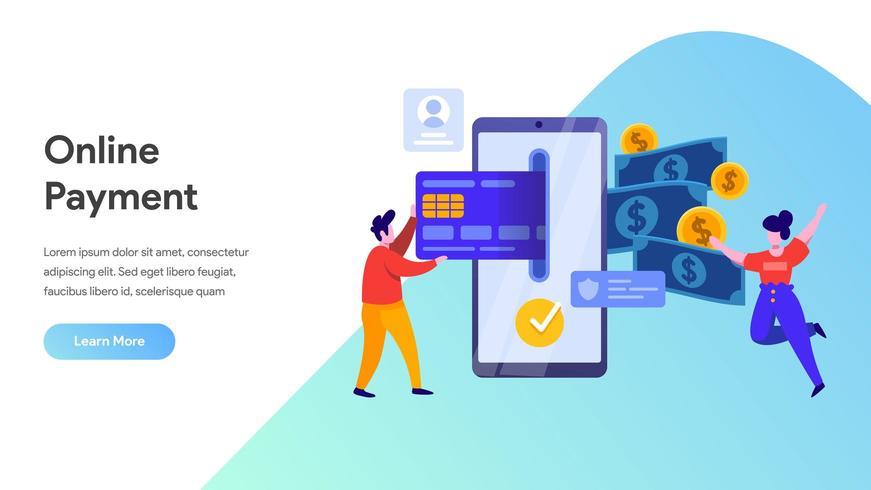 Concepto de pago móvil o transferencia de dinero. vector