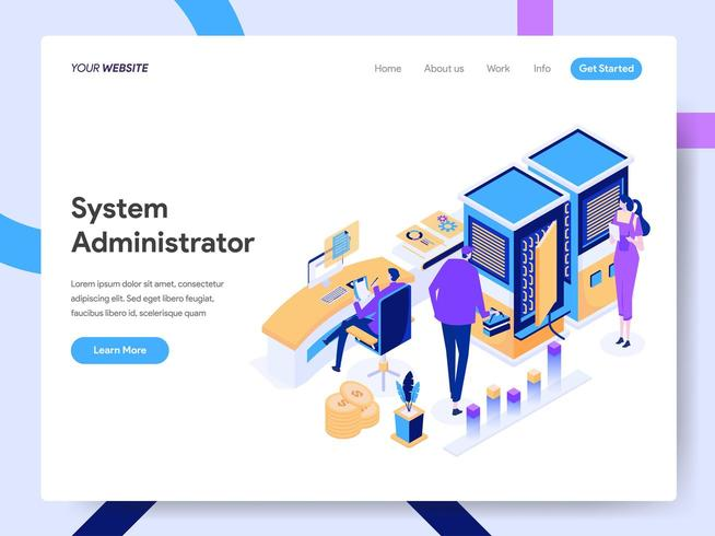 Landing page template of System Administrator vector