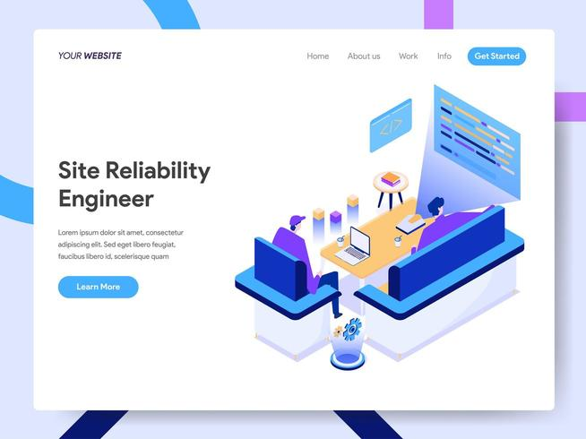 Landing page template of Site Reliability Engineer