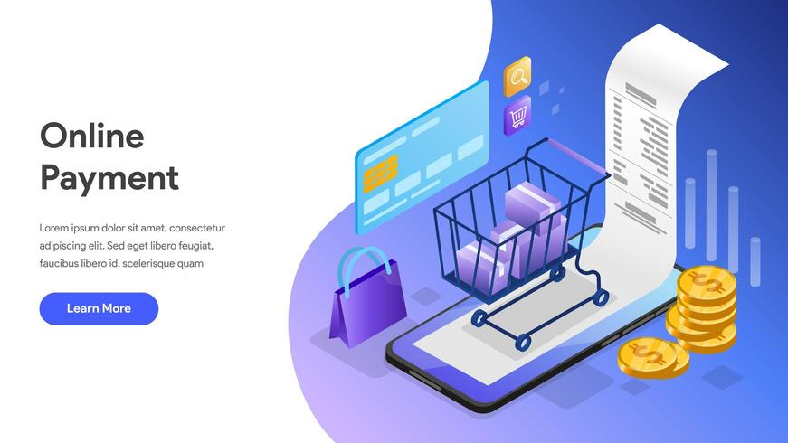 Landing page Online Payment with Mobile Phone vector