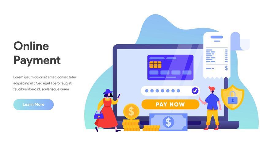 Transfert de paiement mobile avec concept d'ordinateur portable. vecteur