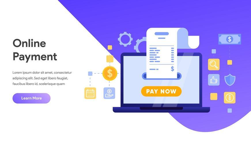 Paiement mobile ou transfert d'argent avec concept d'ordinateur portable vecteur