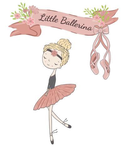 Little cute ballerina princess of the ballet. vector