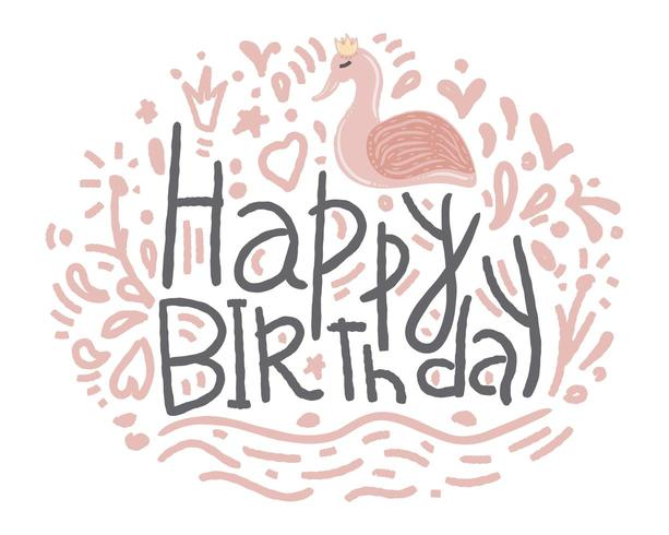 Happy Birthday Hand Drawn Flamingo Style for Greeting Cards vector