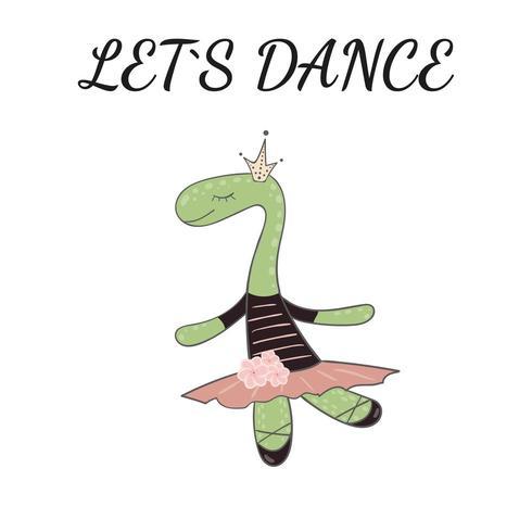 Bailarina de dino impressionante bonito de mão desenhada princesinha. vetor