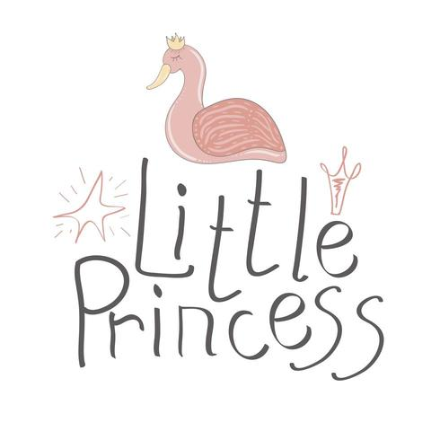 Hand drawn typography little princess vector headline for greeting cards