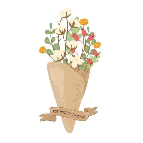 Ramo de flores en papel artesanal con textura y cinta vector