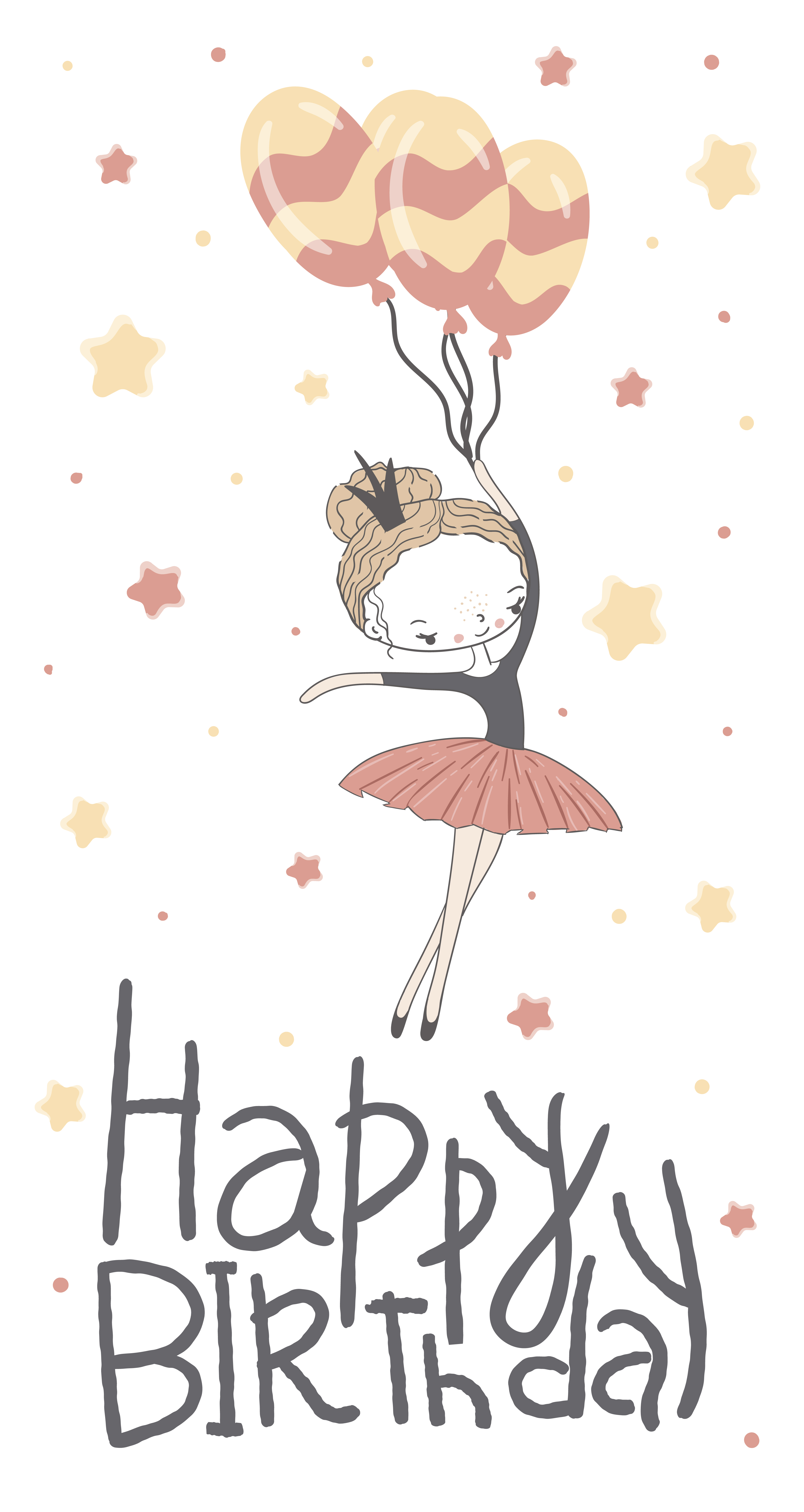 Happy Birthday Card With Cute Little Princess Download