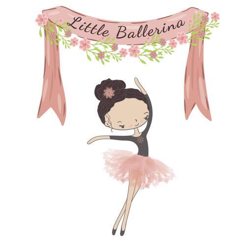Pequena princesa bailarina bonito do balé. vetor