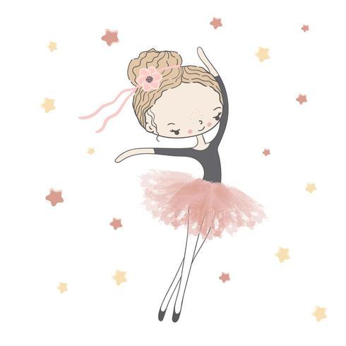 Bailarina menina no tutu rosa com estrelas vetor