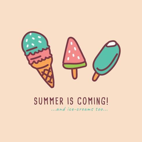 L'été arrive avec la conception de la crème glacée vecteur