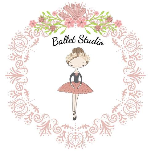Kleine schattige ballerinaprinses van het ballet in bloemencirkel vector