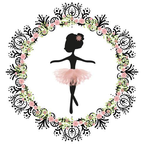 Silhueta Negra E Tutu Rosa Pequena Princesa Bailarina Bonito Do