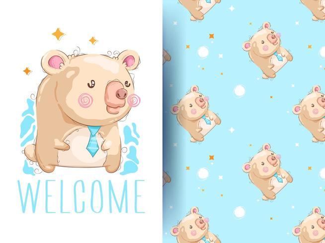 Tecknad gullig björn med mönster