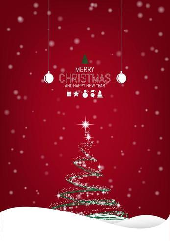 Fond de Noël avec arbre de Noël et remise des ornements vecteur