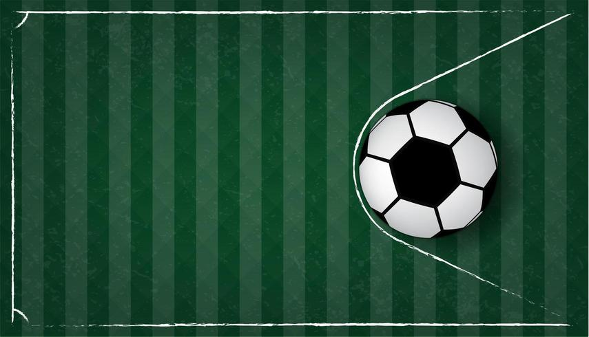 Soccer ball or football in net on green grass background