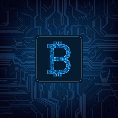 Logo de la monnaie numérique Bitcoin sur fond de circuit vecteur