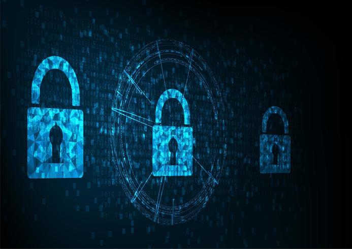Shields With Keyhole icon on digital data background.