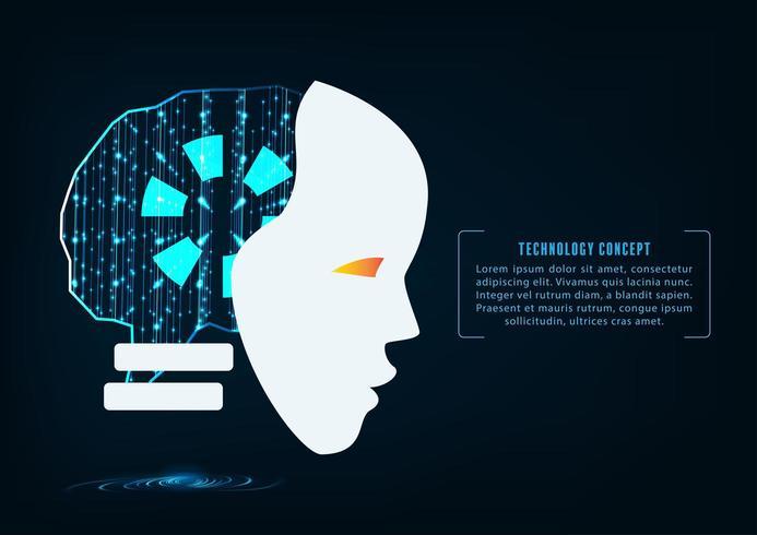 Intelligenza artificiale. Testa del robot con codice binario dietro