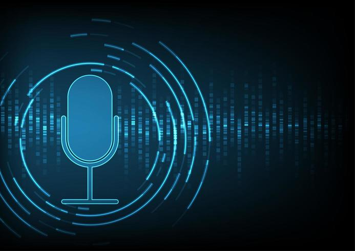 Microphone on digital data background vector
