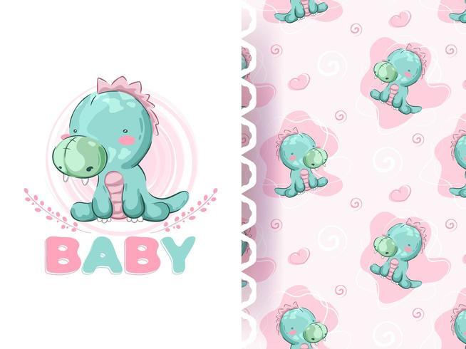 Conjunto de patrones de dino de dibujos animados de bebé
