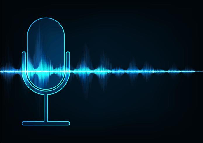 Microfono su sfondo digitale di onde sonore.