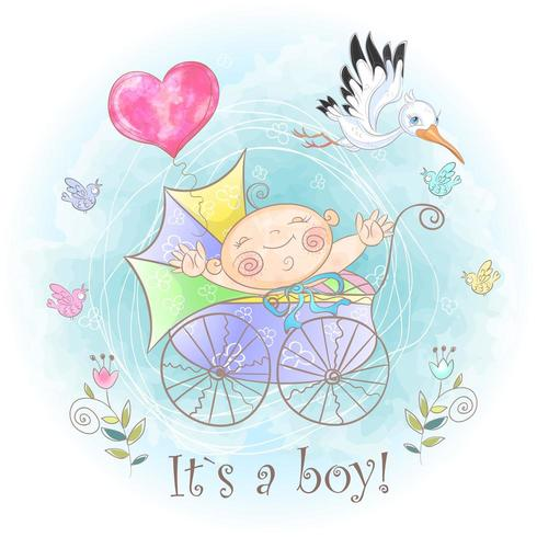 Petit garçon dans la poussette. Je suis né. Douche de bébé. Aquarelle