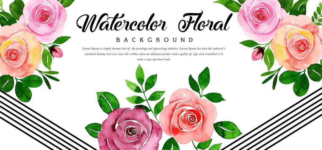 Hermoso fondo floral rosa acuarela