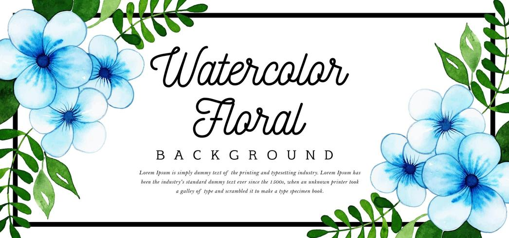 Beautiful Watercolor Blue Floral Background vector