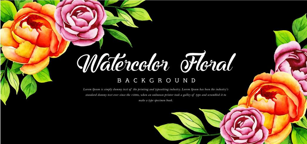 Beautiful Watercolor Floral Black Background vector
