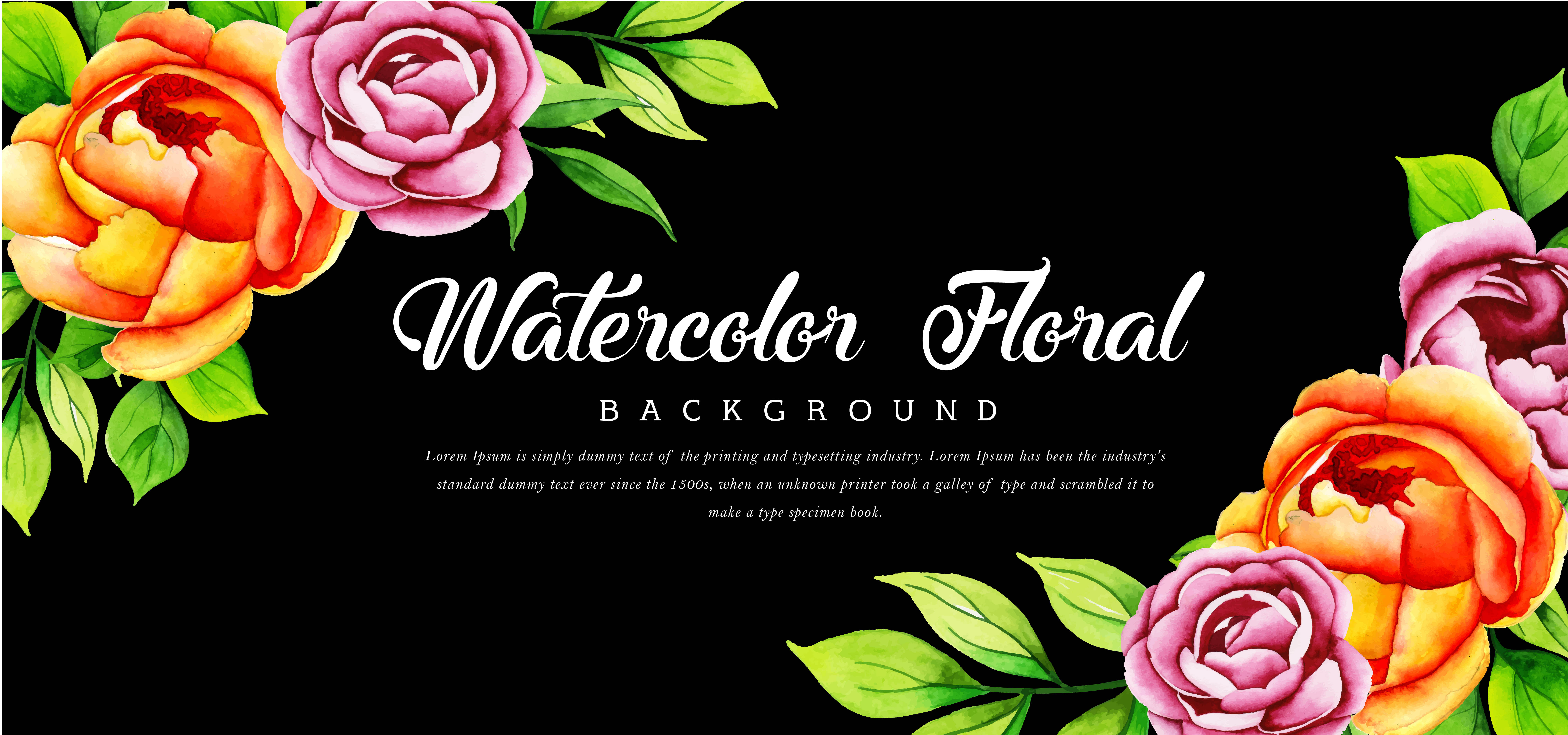 Beautiful Watercolor Floral Black Background Download Free