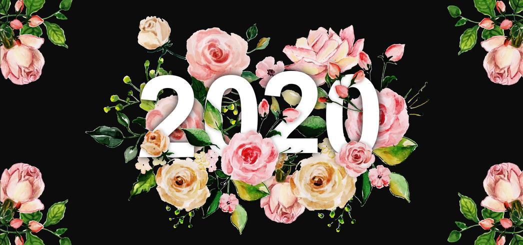Watercolor Floral New Year Background