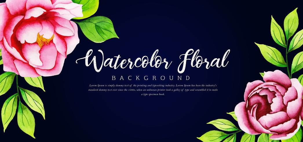 Beautiful Watercolor Pink Floral Black Background vector