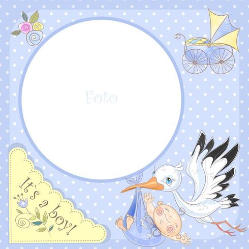 Photo frame for the birth of a boy. Baby shower.