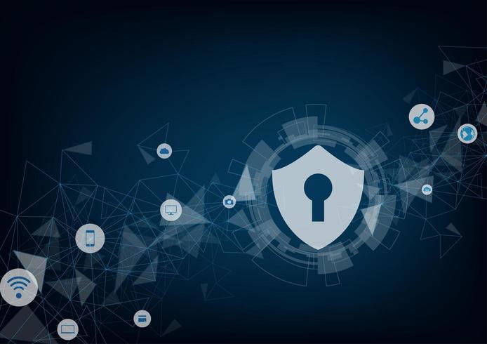 Concepto en línea de seguridad de Internet. Candado con cerradura e iconos. vector
