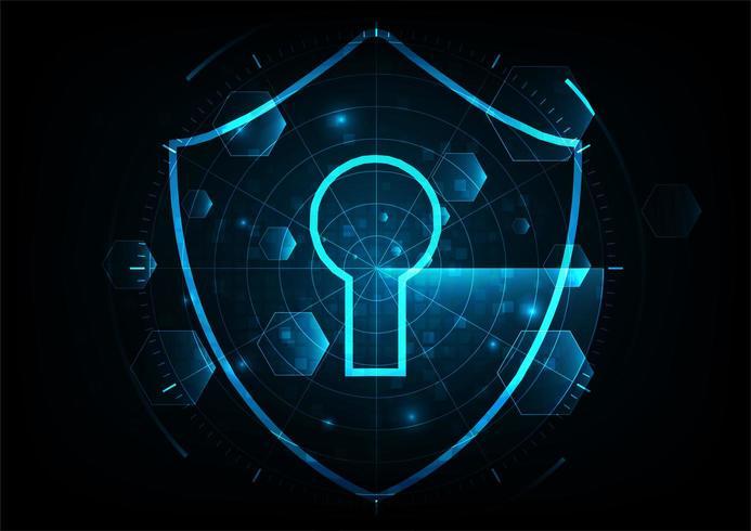 Proteger y escanear ataques de virus informáticos con pantalla de radar sobre fondo abstracto azul