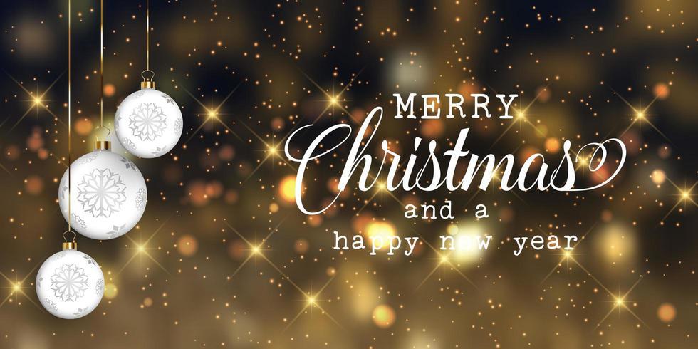 Banner di Natale con palline e luci bokeh